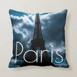 Blue Night Eiffel Tower Paris France Travel Throw Pillow