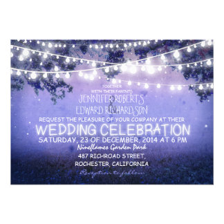 blue night garden lights rustic wedding personalized invitation