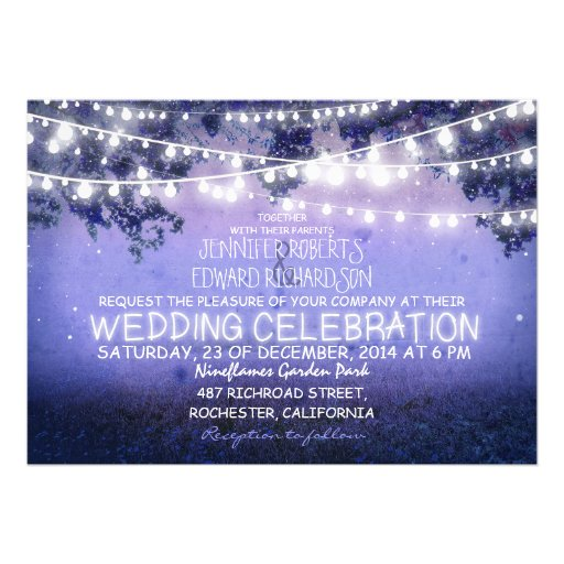 blue night & garden lights rustic wedding personalized invitation