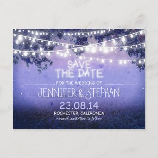 blue night lights romantic save the date announcement postcard