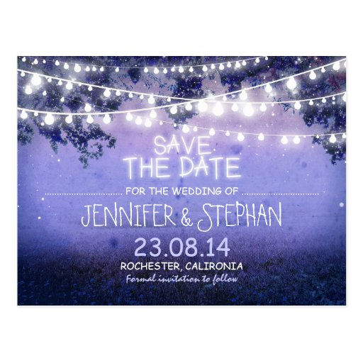 blue night lights romantic save the date post card