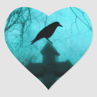 Blue Night Raven Heart Sticker