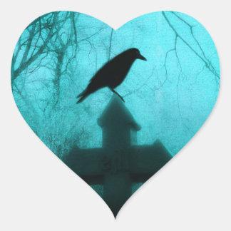 Blue Night Raven Heart Sticker