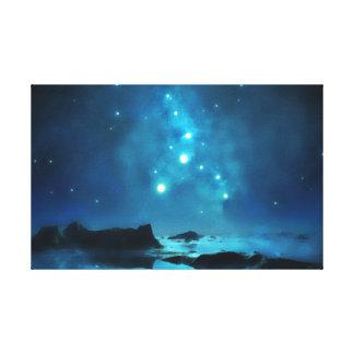 Blue Night Sky Star Cluster Canvas Print