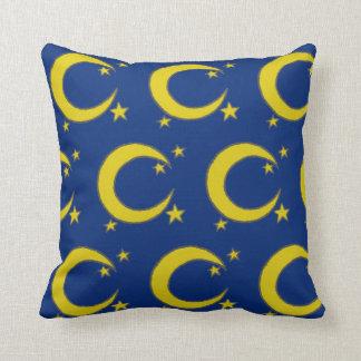 Blue Night Sky Yellow Moon Stars Astronomy Throw Pillow