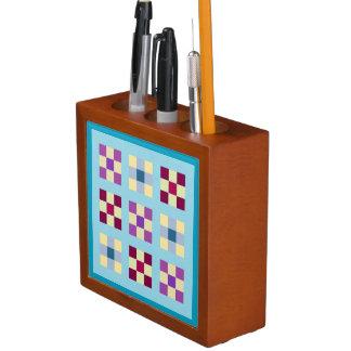 Blue Nine Patch Quilt Pattern Desk Organizer