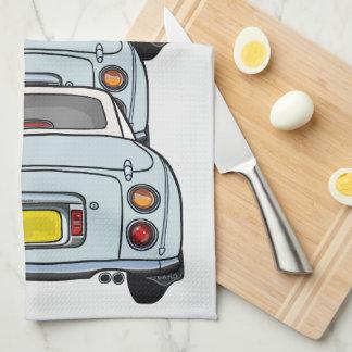 Blue Nissan Figaro Car Convoy Kitchen Tea Towel
