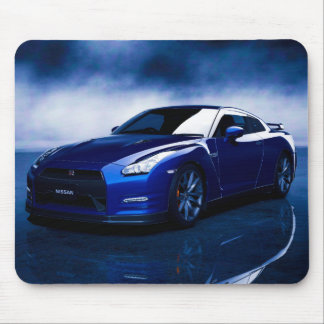 Blue Nissan GT-R Smoky Background Mouse Pad