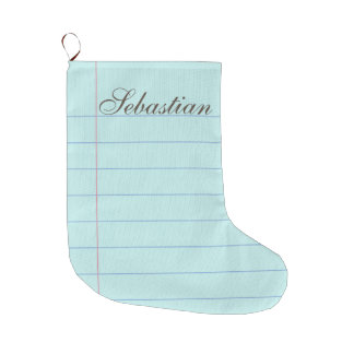 Blue Notebook Paper Christmas Stocking - Customize