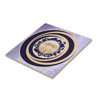 Blue Nouveau Full Moon Ceramic Art Tile