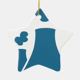 Blue Nuclear Power Plant Icon Ceramic Ornament