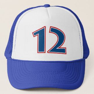 Blue Number 12 Trucker Hat
