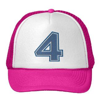 Blue Number 4 Trucker Hat