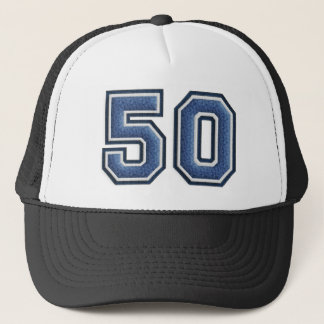 Blue Number 50 Trucker Hat