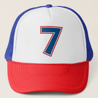 Blue Number 7 Trucker Hat
