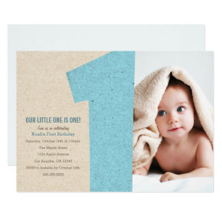 Blue Number One First Birthday Party Invite