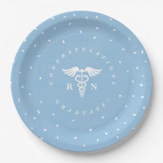 Blue Nursing School Graduation Party Plates 9 Inch Paper Plate