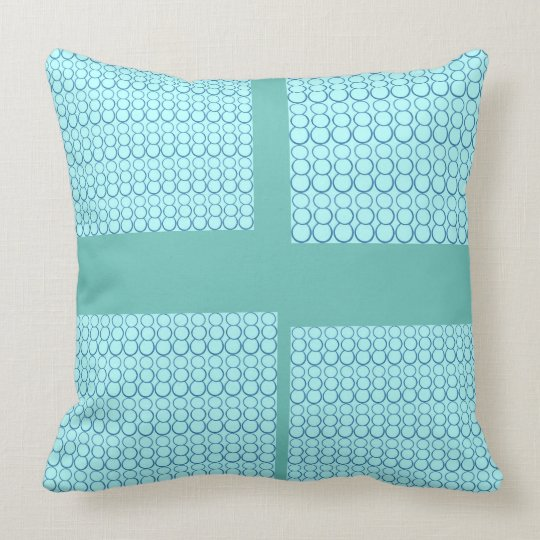 BLUE OBTUSE CROSS THROW PILLOW