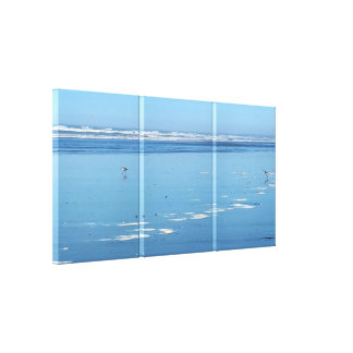 Blue Ocean Beach Sandpipers 3 Panel Canvas Prints