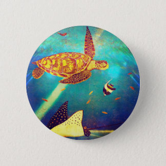 Blue Ocean Colorful Sea Turtle Painting 2 Inch Round Button