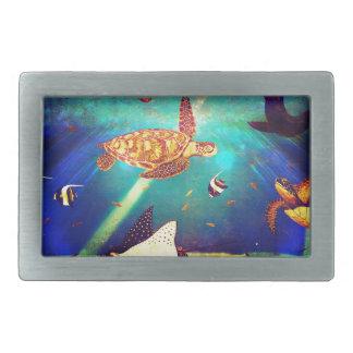 Blue Ocean Colorful Sea Turtle Painting Belt Buckles