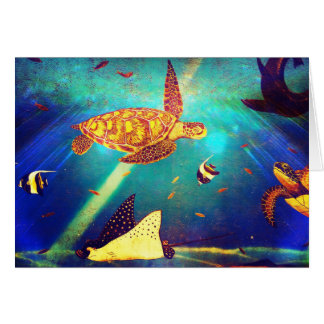 Blue Ocean Colorful Sea Turtle Painting Card