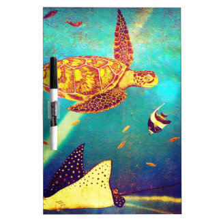 Blue Ocean Colorful Sea Turtle Painting Dry Erase Board