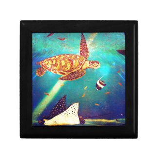 Blue Ocean Colorful Sea Turtle Painting Gift Box