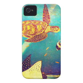 Blue Ocean Colorful Sea Turtle Painting iPhone 4 Case-Mate Case