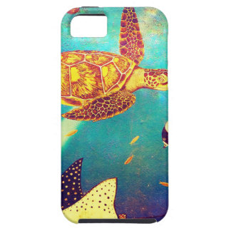 Blue Ocean Colorful Sea Turtle Painting iPhone 5 Cover