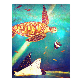 Blue Ocean Colorful Sea Turtle Painting Letterhead Design