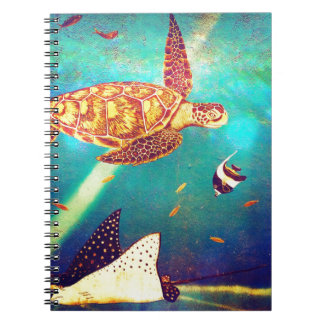 Blue Ocean Colorful Sea Turtle Painting Notebooks