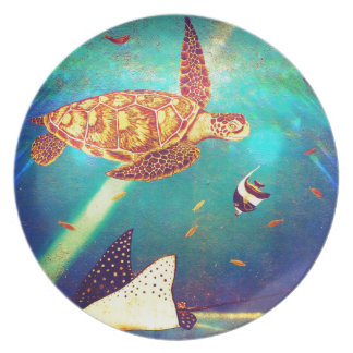 Blue Ocean Colorful Sea Turtle Painting Party Plates