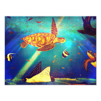Blue Ocean Colorful Sea Turtle Painting Photo
