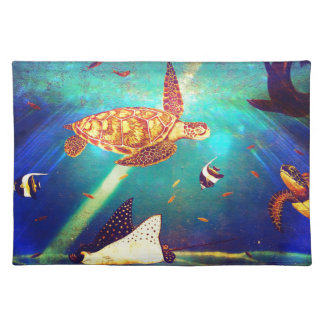 Blue Ocean Colorful Sea Turtle Painting Placemat