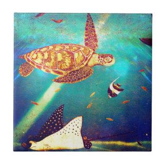 Blue Ocean Colorful Sea Turtle Painting Tile