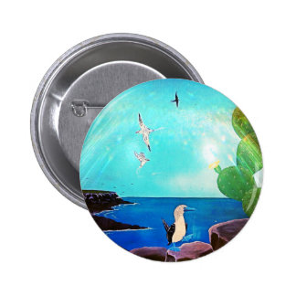 Blue Ocean Flying Birds Painting 2 Inch Round Button