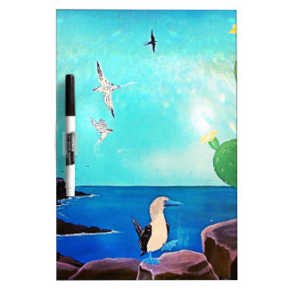Blue Ocean Flying Birds Painting Dry Erase Board