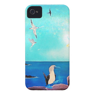 Blue Ocean Flying Birds Painting iPhone 4 Cases