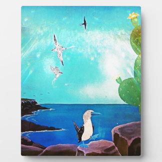 Blue Ocean Flying Birds Painting Plaque