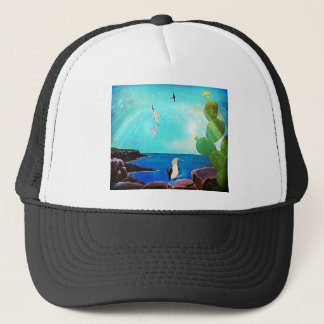 Blue Ocean Flying Birds Painting Trucker Hat