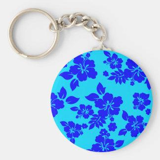 Blue Ocean Hawaiian Basic Round Button Keychain