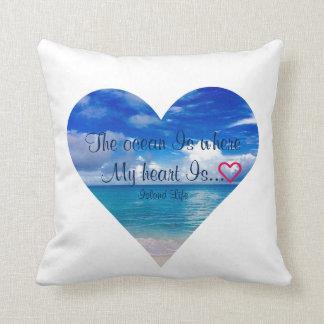 Blue Ocean | Heart | Throw Pillow