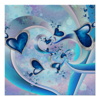 Blue Ocean Hearts Fractal Jewels Poster