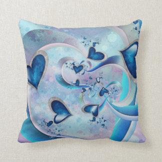 Blue Ocean Hearts Fractal Jewels Throw Pillow