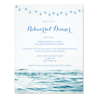 Blue ocean lights rehearsal dinner invitations