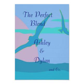 Blue Ocean Paradise Theme Blended Family Wedding Card