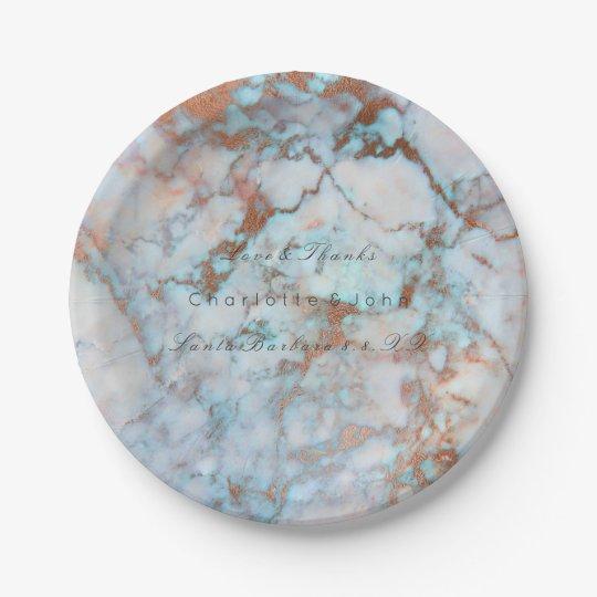 Blue Ocean Pink Brush Rose Gold Marble Wedding Vip Paper Plate