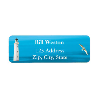 Blue ocean sea and lighthouse address return label