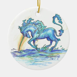 Blue Ocean Sea Unicorn Fish Horse Hippocampus Ceramic Ornament